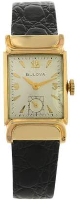Bulova 10K Gold Case Leather Band Mens Vintage Wrist Watch