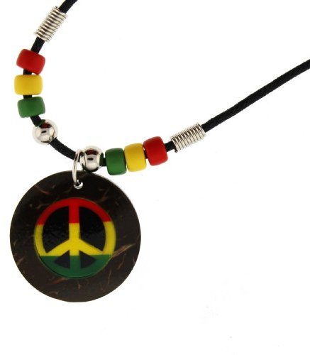 Rasta Peace Sign Necklace - Round Coconut 1 Inch Diameter 18 Inches in Length