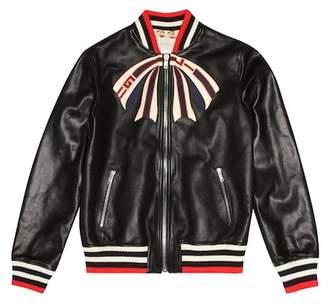 2cdb410c13a Gucci Kids Appliquéd leather bomber jacket