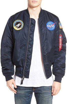 Men's Alpha Industries Nasa Ma-1 Bomber Jacket $150 thestylecure.com