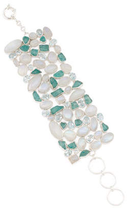 Made In India Moonstone Blue Topaz And Apatite Bracelet