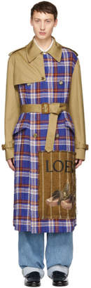 Loewe Tan and Check Trench Coat