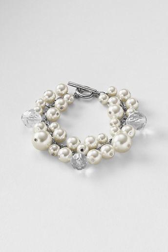 Lands' End Women's Pearl Cluster Bracelet