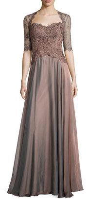 La Femme Lace & Taffeta Sweetheart Gown, Cocoa $438 thestylecure.com