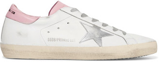 Golden Goose Deluxe Brand - Super Star Distressed Leather Sneakers - White $495 thestylecure.com