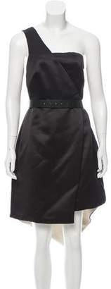 Halston One-Shoulder Midi Dress