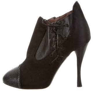Tabitha Simmons Lace-Up Satin Booties