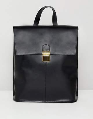 Asos Design DESIGN leather pushlock backpack