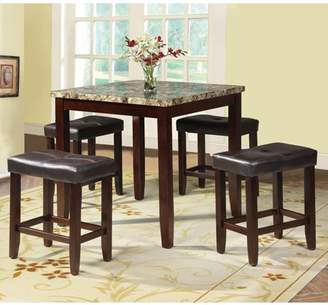 ACME Furniture Acme Rolle 5-Piece Counter-Height Dining Set, Faux Marble and Espresso