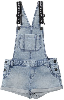 DKNY Stone Washed Stretch Denim Overalls