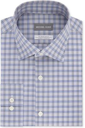 Michael Kors Men's Classic/Regular Fit Non-Iron Airsoft Stretch Performance Blue & Gray Check Dress Shirt