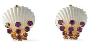 Bounkit Gold-Tone Amethyst And Shell Earrings