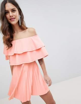 Bardot Asos Design ASOS DESIGN scuba double ruffle pleated mini dress