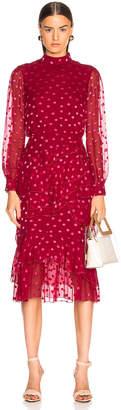 Saloni Isa Ruffle Dress in Rouge Pink | FWRD
