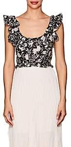 Ulla Johnson Women's Bijou Floral Cotton-Silk Corset Top-Black
