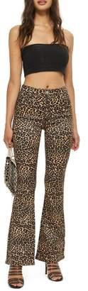 Topshop MOTO Leopard Print Flare Jeans