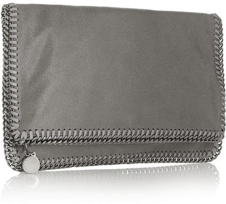 Falabella faux brushed-leather clutch