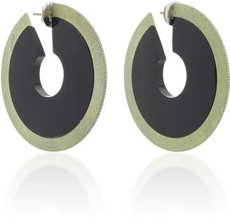 Arunashi One-Of-A-Kind Onyx Large Circular Stone Hoops