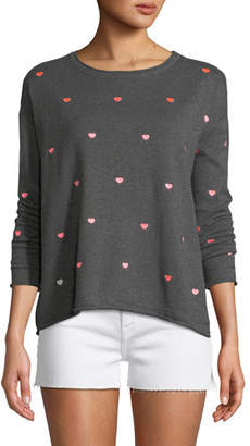 Lisa Todd More to Love Cotton/Cashmere Sweater with Scattered Hearts, Plus Size