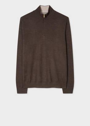 Paul Smith Men's Hazelnut Funnel Neck Merino Wool Half-Zip Sweater