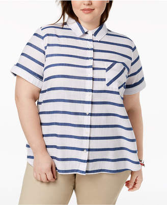 Tommy Hilfiger Plus Size Cotton Gauze Striped Shirt, Created for Macy's