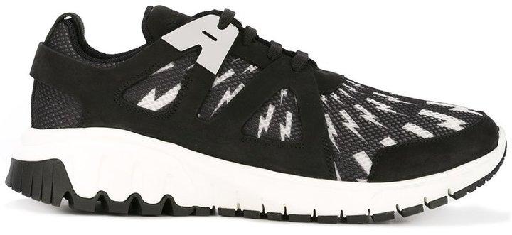 Neil Barrett Molecular Runner lightning bolt sneakers