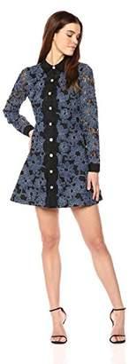 Laundry by Shelli Segal Women's Denim Lace Shirt Dress
