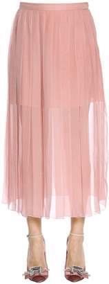Rochas Pleated Silk Chiffon Midi Skirt