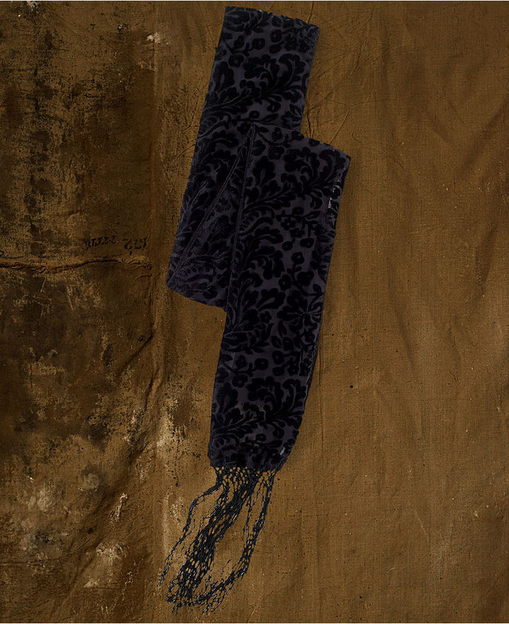 Denim & Supply Ralph Lauren Velvet Burn-Out Fringed Scarf