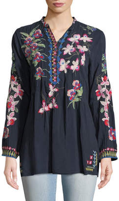 Johnny Was Tropical Garden Button-Front Tunic, Plus Size