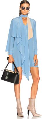Fendi Crepe de Chine Long Sleeve Mini Dress