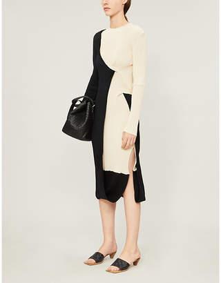 Bottega Veneta Two-tone ribbed stretch-knit knee-length dress