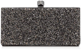 Jimmy Choo CELESTE/S Bronze Mix Midnight Coarse Glitter Fabric Clutch Bag with Cube Clasp