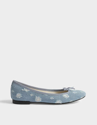 Repetto Cendrillon Denim Ballerinas in Sky Blue Cotton
