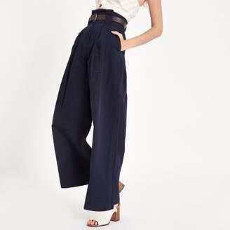 River Island Womens Navy paperbag waist wide leg pants