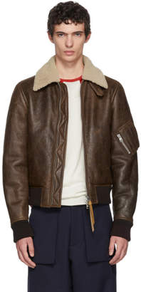 J.W.Anderson Brown Shearling Aviator Jacket