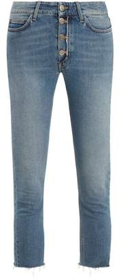 MiH Jeans Nikki High Rise Slim Leg Cropped Jeans - Womens - Mid Blue