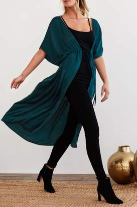 Noa Elle Green Satin Kimono