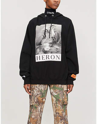 HERON PRESTON B&W herons-print cotton-jersey hoody