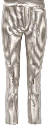 Isabel Marant Novida Metallic Striped Leather Skinny Pants - Silver