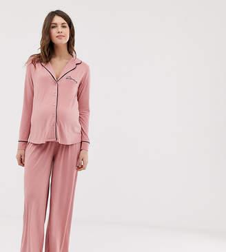49a160f4ffa0e Asos DESIGN Maternity traditional pyjama trouser set with piping