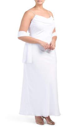 Plus Cascading Ruffle Back Scarf Bridal Gown