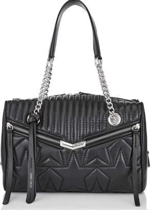 aa12349e212 Jimmy Choo HELIA BOWLING Black and Silver Leather Bag with Star Matelasse