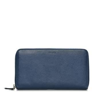 Prada Zip Around Travel Wallet Saffiano Large Bluette Blue