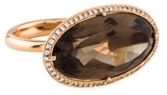 Ring 18K Smoky Quartz & Diamond