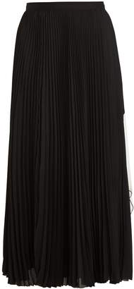 Proenza Schouler Cut-out hem pleated-crepe midi skirt