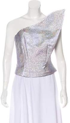 Vika Gazinskaya Metallic One Shoulder Top Purple Metallic One Shoulder Top