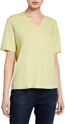 Eileen Fisher Organic Cotton V-Neck Short-Sleeve Jersey Tee