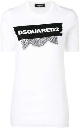 DSQUARED2 lace appliqué logo T-shirt