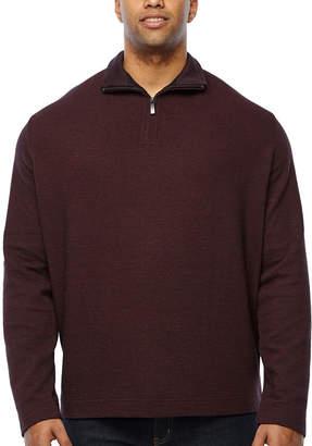 Van Heusen Flex Ottoman 1/4 Zip Mens Long Sleeve Quarter-Zip Pullover Big and Tall
